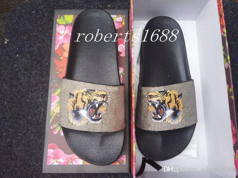 Mens Fashion Thick Rubber Sole Slide Sandals Slippers with Tiger ... 4b70ac51928f