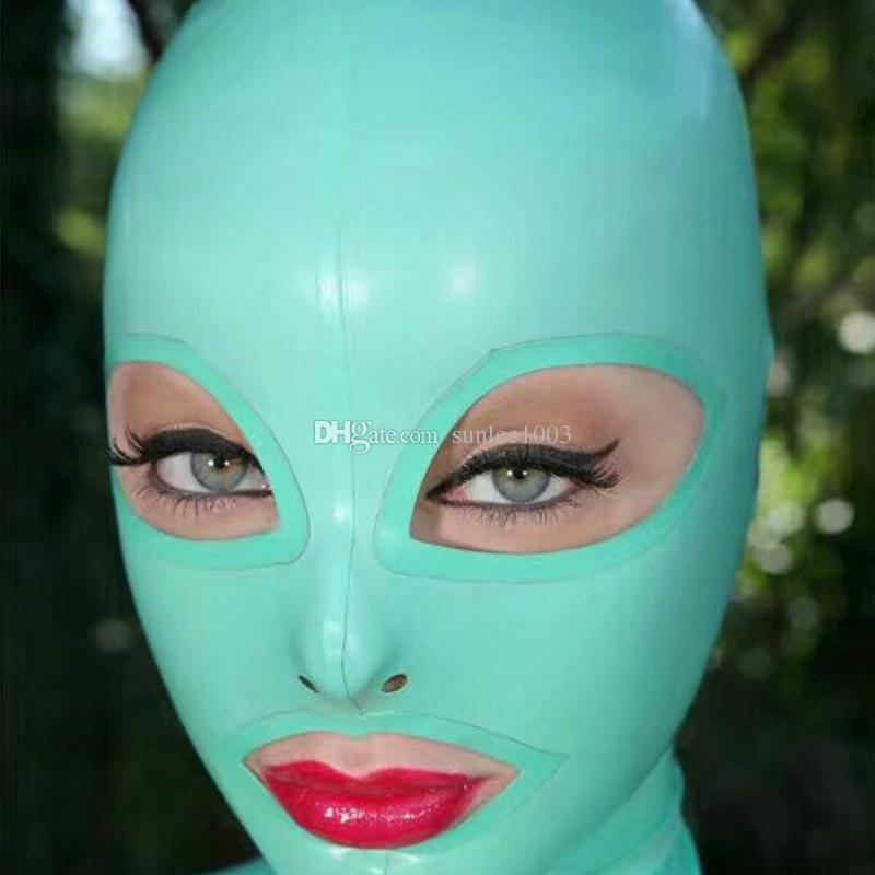100٪ نقية اللاتكس اغطية المطاط صنم جميلة فتاة قناع تأثيري حزب ارتداء ازياء اليدوية