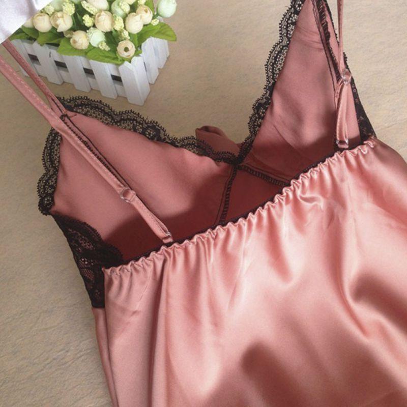 Sexy Ladies Rayon Silk Sleepwear Summer Lace V-neck Women Pijamas Mujer Strap Nightgown Hot Sale