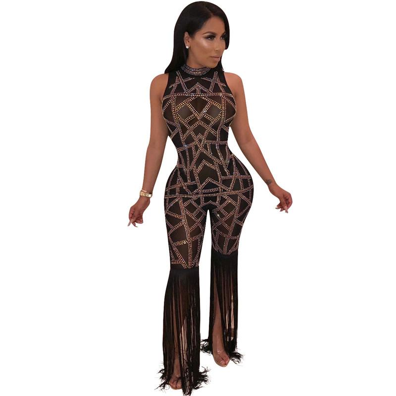 d46fbb77ac 2019 Sparkly Rhinestone Sexy Party Jumpsuit Women Sheer Mesh Bodysuit See  Through Clubwear Rompers Bottom Fringe Tassel Playsuit From Beenlo