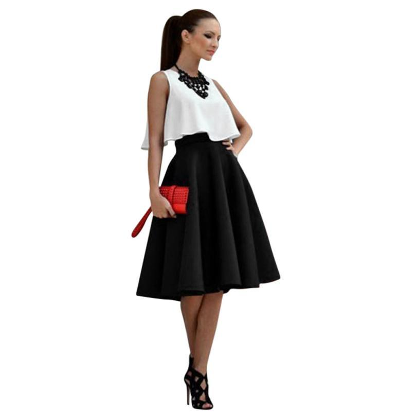 2019 Vintage Women Tutu Skirt High Waist Pleated Skirt Flared Set Black  Midi Skirts And White Crop Top Set For Female From Genguo 0e9d5c64a