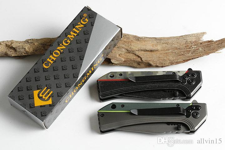 Envío de la gota Chongming 357 Assisted Fast Cuchillo plegable 440C Drop Point Blade G10 + Mango de acero EDC Pocket Knives Liner Lock