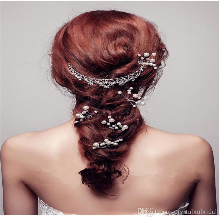 2018 Barato Bling accesorios para el cabello nupcial flores perlas novia pelo perlas pernos peine vestidos de novia joyería para mujeres tocados encantadores