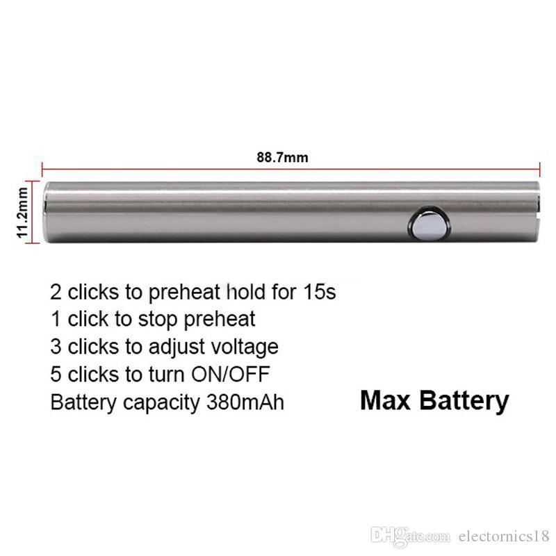 Max Preheat Battery Variable Voltage 510 thread battery Bottom Charge Vaporizer Pen Variable Battery for e cigarette Vape Pen Vaporizer