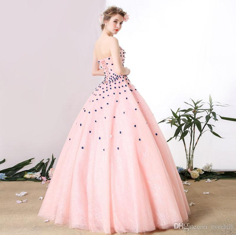 Elegant Pink Lace Prom Gown With 3D Roses Flowers Sweetheart Beaded Ball Gown Long Dresses For Prom Evening Party Dresses Vestidos De Baile