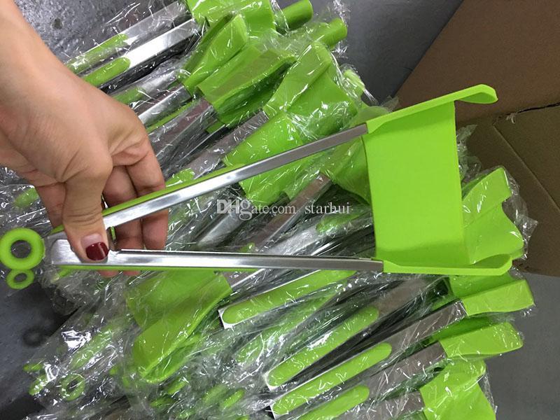 Yeni 2-in-1 Zeki Spatula Tong Mutfak Spatula Maşa yapışmaz Isıya Dayanıklı Gıda Klip Kavrama Paslanmaz Çelik Aksesuarları WX9-451