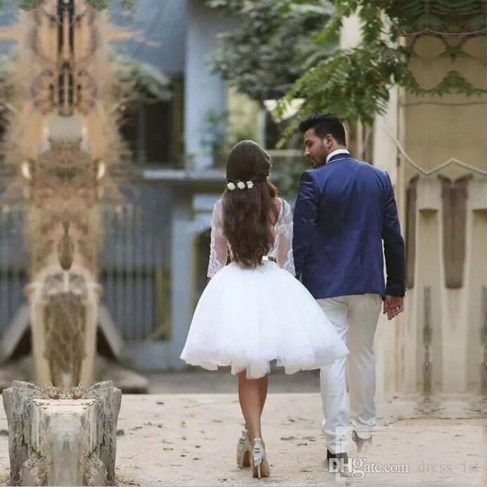 2020 Arabic Dubai Lace Short Beach Wedding Dresses with Detachable Skirt Bateau 3/4 Long Sleeve Mini Bridal Gowns Reception Custom Made