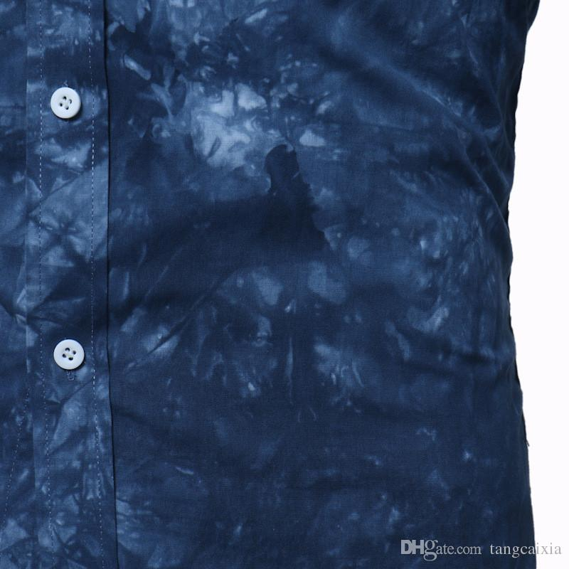 Atacado Frete Grátis Homens Padrão de Impressão Casual Manga Comprida Slim Fit Lavado Moda Camisas de Verão Plus Size 2XL