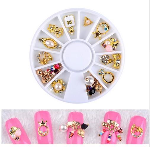 New 3D Charm Alloy Nail Art Rhinestone Decoration Wheel DIY Beauty ...