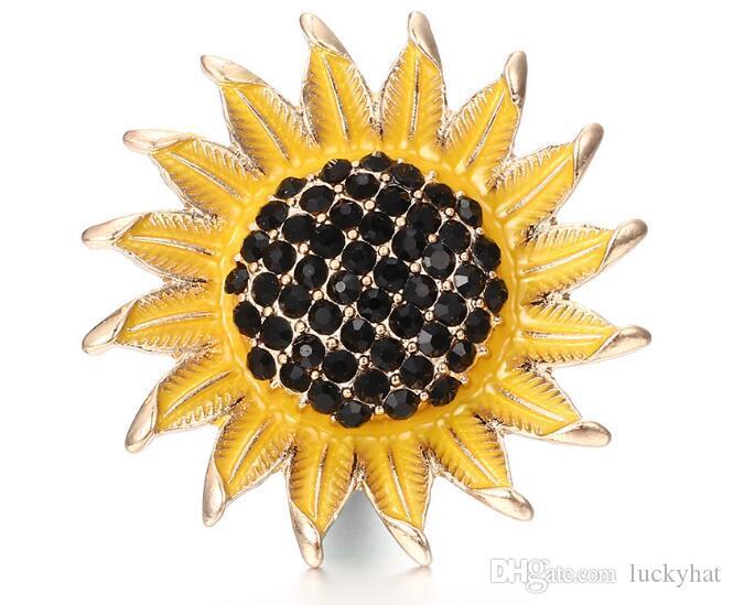 18mm botón a presión noosa botón de girasol con encanto del rhinestone diy joyería hecha a mano en forma de pulsera colgante encanto agradable venta caliente