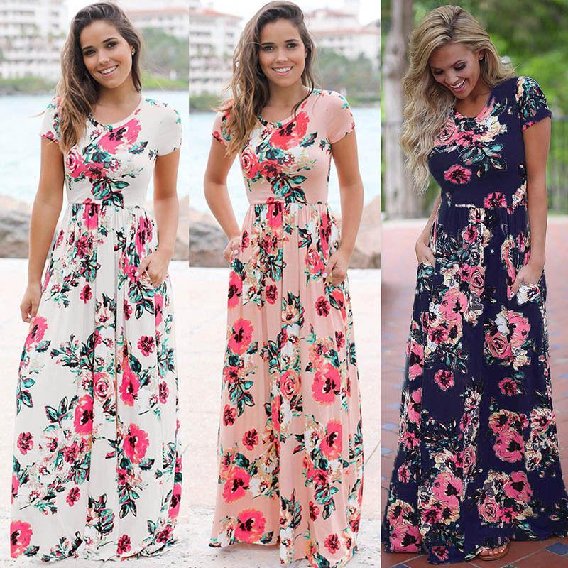 842254aa86e24 NEW Women Floral Print Dresses Sleeveless Boho Dress Evening Gown Party  Long Maxi Dress Summer Sundress Casual Dresses For Womens 5 Styles Summer  Dress ...