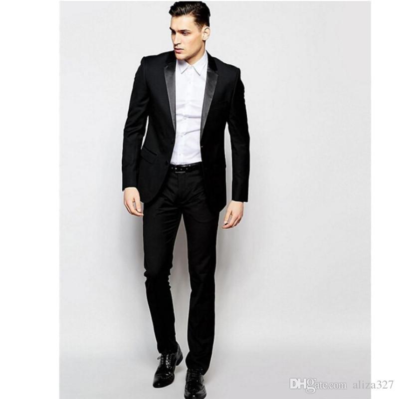 aaee48a8a6fe0 Compre Traje De Dos Piezas De Traje De Caballero Negro Personalizado  Chaqueta + Pantalones Traje De Dos Hombres De Negocios De Cuello De Camisa  Casual De ...