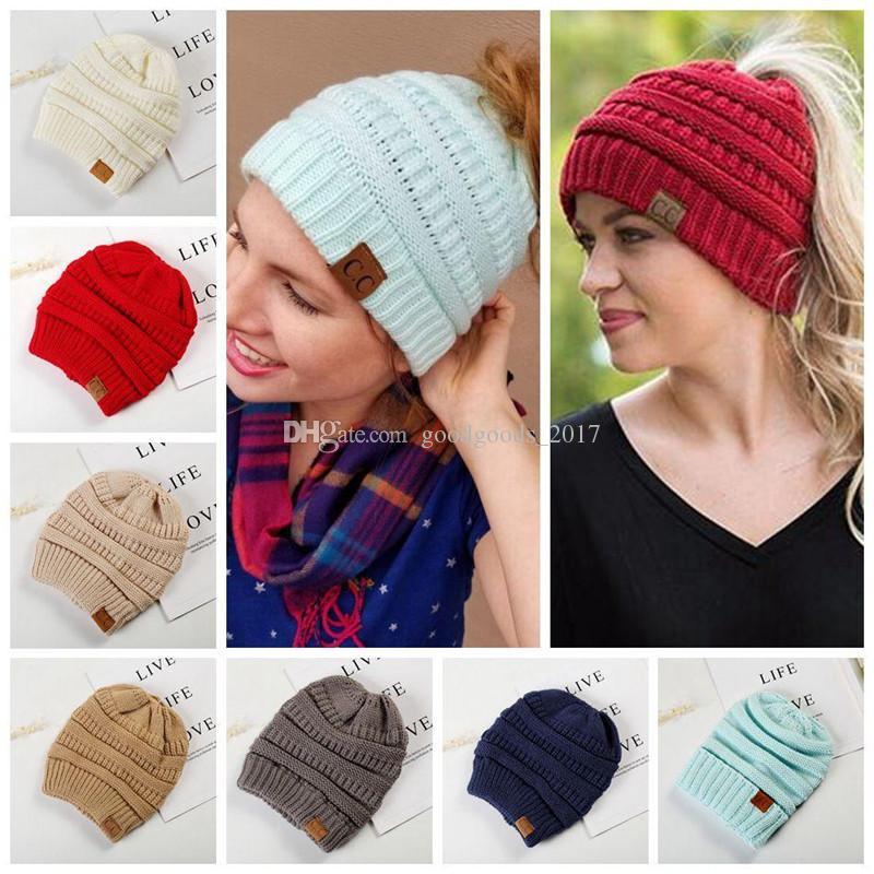 50a32c50c9b CC Warm Winter Hat Women Ponytail Beanie Stretch Cable Knit Messy ...
