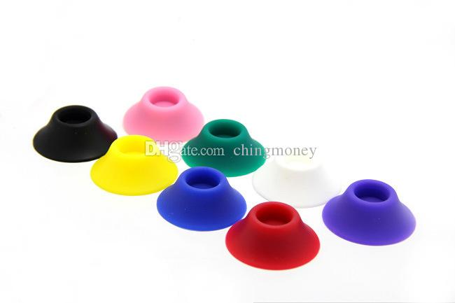 Ecig Battery Silicone Base Holder Colorful Silica Gel Cup E Cig Sucker Rubber Cases For E-Cigarette Ego Evod Atomizer Holding Display Stands