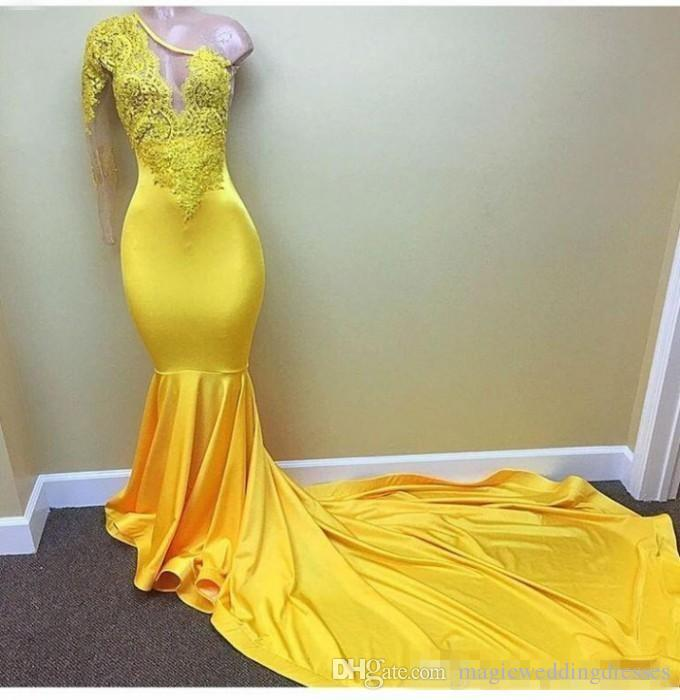 Sexy Yellow One shoulder Long Sleeve Black Girls Prom Dresses 2018 Appliques Lace Evening Dress Elastic Satin Mermaid African Party Gowns