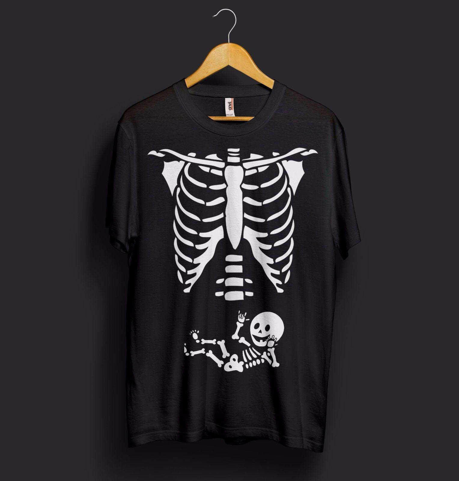 maternity baby skeleton halloween t shirt top bones funny scary