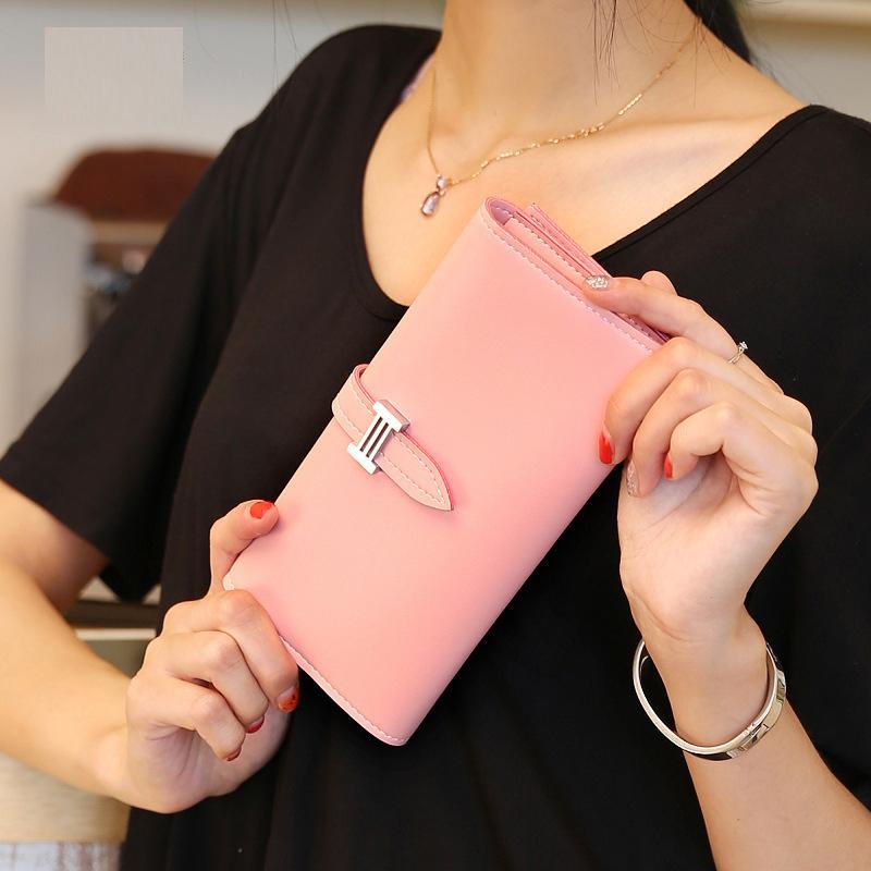 Mujer estándar Teléfono celular de la carpeta de bolsillo Monedero cremallera de las mujeres titular de la tarjeta monedero del monedero del embrague bolsa de las carpetas de la moneda