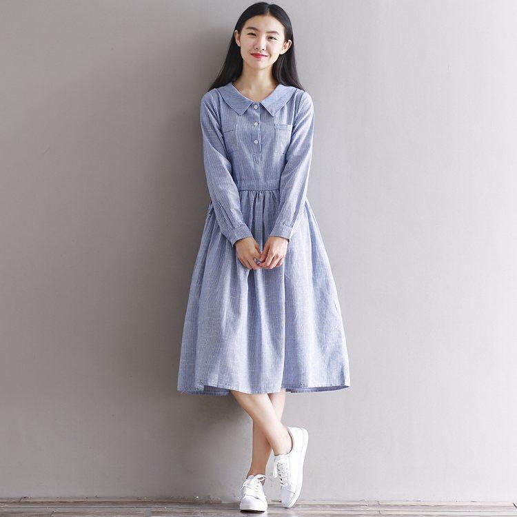 44313d6b10f2 2019 Fashion Long Dress Women 2018 Spring Casual Loose Office Pleat Linen  Dresses Long Sleeve Peter Pan Collar Striped Shirt Dress From Edmund02