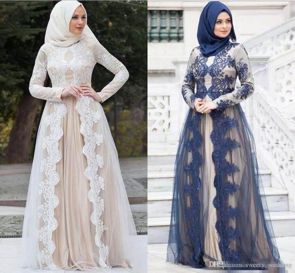 6eb0ab781c4e9 Satın Al 2018 Müslüman Kadınlar Ünlü Abiye Dantel Aplikler Abaya Dubai  Arapça Kaftan Uzun Abiye Ile Uzun Kollu, $154.29 | DHgate.Com'da