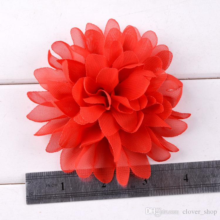 클립 평면 돌아 가기 무료 배송없이 패션 새로운 큰 쉬폰 헤어 꽃 10cm 머리띠 DIY 꽃