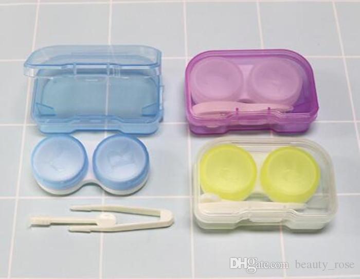 Color al azar Moda El mejor bolsillo de la lente de contacto de plástico transparente Kit de viaje Fácil Tome Portacontenedores Venta caliente