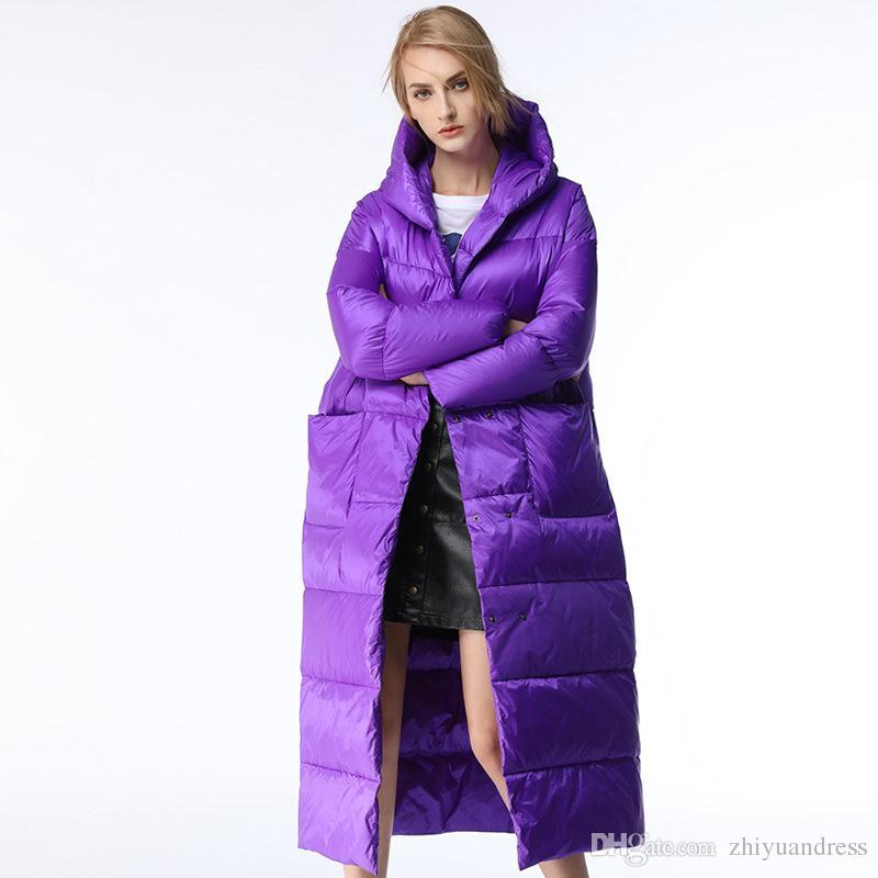 2019 2018 Purple Blue X Long Women Down Jackets Hooded Down Parkas