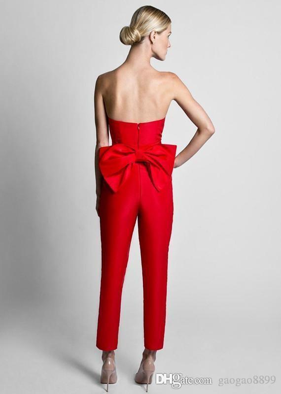 2019 Krikor Jabotian Red Jumpsuit abiti da sera formale con gonna staccabile Sweetheart Prom Dresses Party Wear pantaloni le donne vendita calda