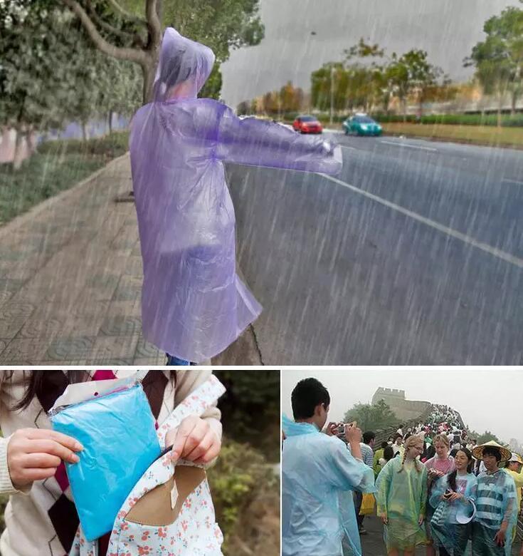 Imperméables à la mode PE imperméables jetables Poncho Rainwear Voyage imperméable à l'eau de pluie cadeaux cadeaux de pluie couleurs mélangées