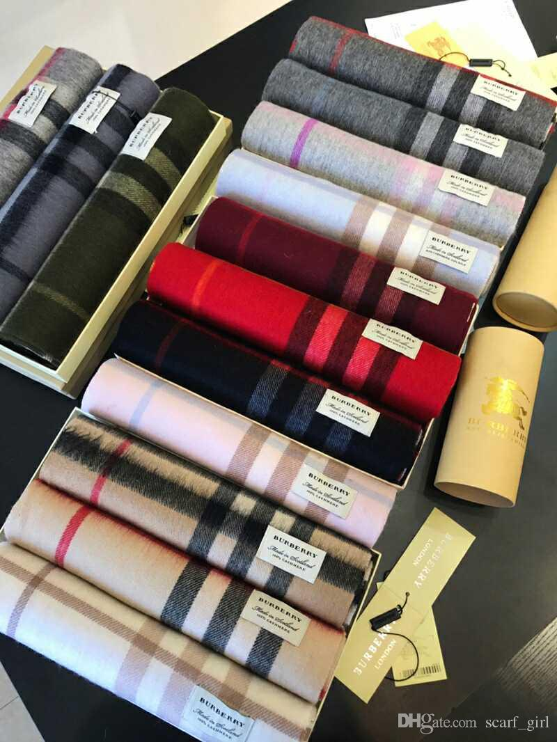 Winter Luxury Brand 100 Cashmere Scarf For Women And Men With Round Burberry London Non Box Tube Designer Large Plaid Scarves Pashmina Infinity Scarfs001