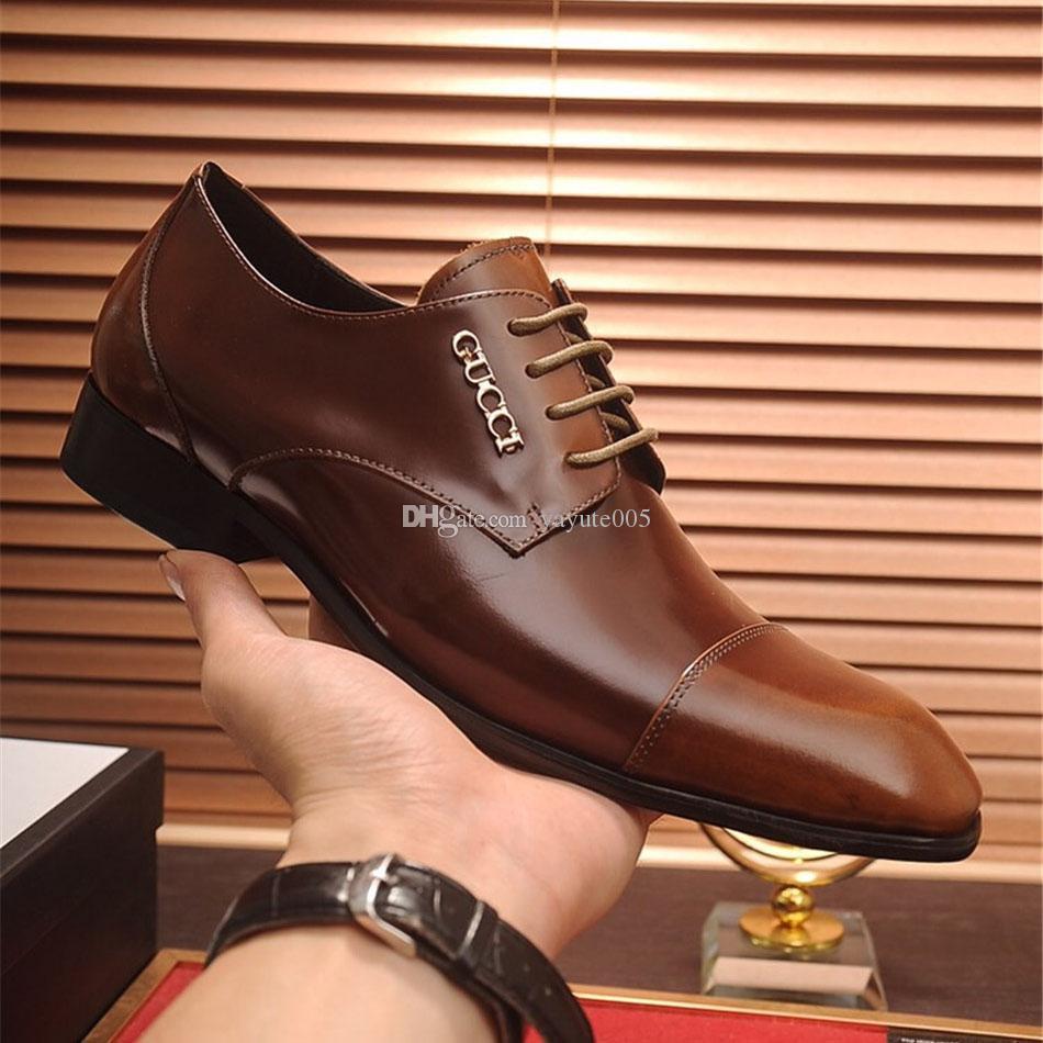 c2770a88d0902 Acheter Hommes Chaussures Habillées Chaussures De Luxe Chaussures Fait Main  Sur Mesure Chaussures Pour Hommes Véritable Cuir De Veau Lettre Boucle  Couleur ...