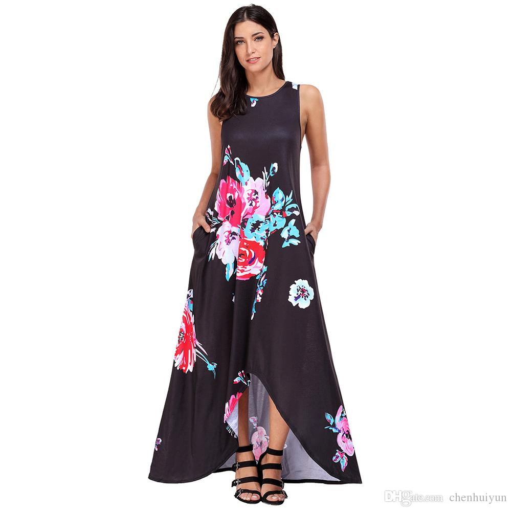 80bfd66a1 Black Floral Pocketed Holiday Maxi Boho Dress Hot Sell In Summer Red And  Black Casual Dresses Buy Women Dress From Chenhuiyun, $21.22  DHgate.Com