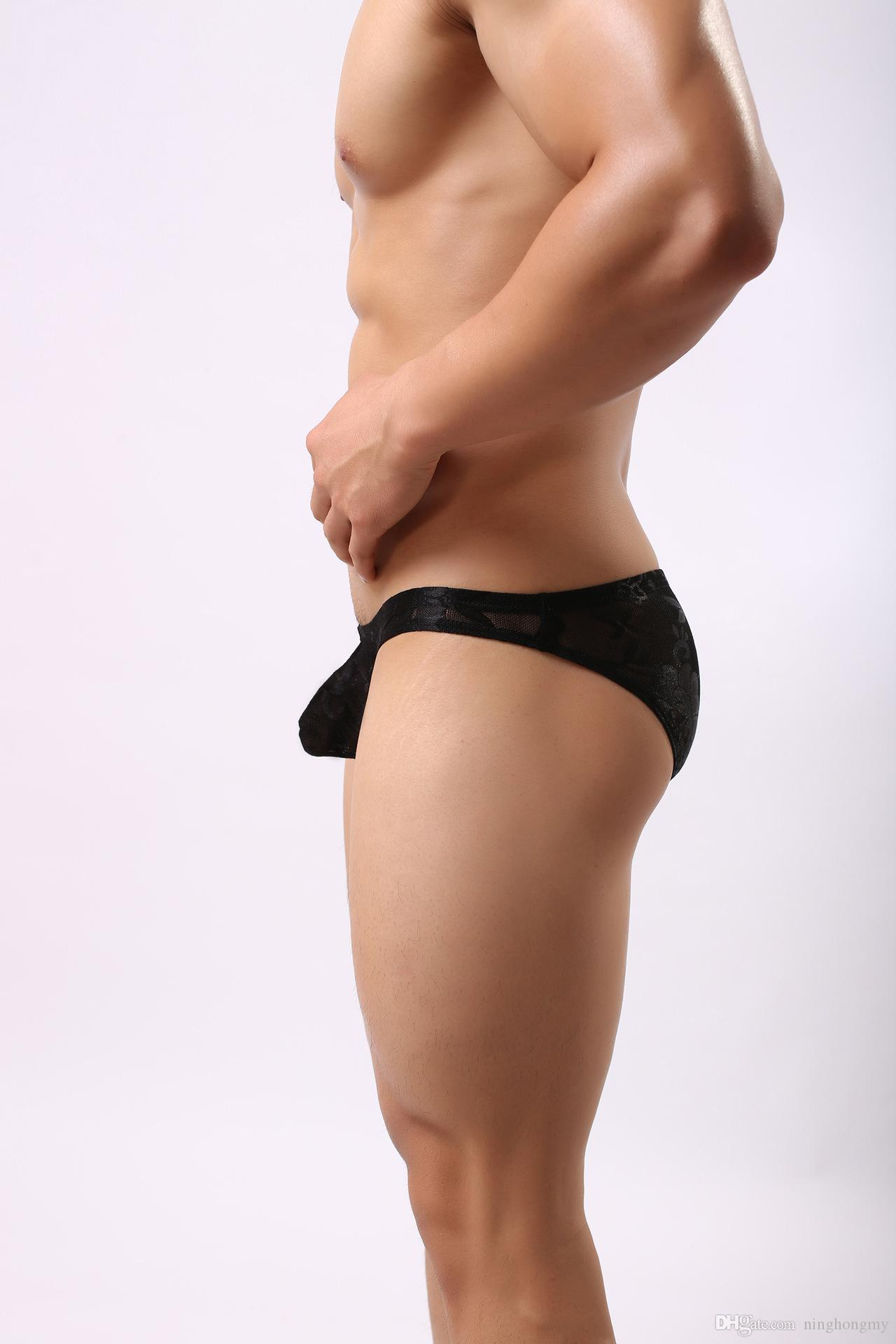 Nouvelle Arrivée Style Nouveau Mens Sissy Sous-Vêtements En Dentelle String Améliorer La Poche Bikini Hommes Mémoires Pantalons Pantalon De Mode Sexy Gaze Gay Pénis Manches Mémoires