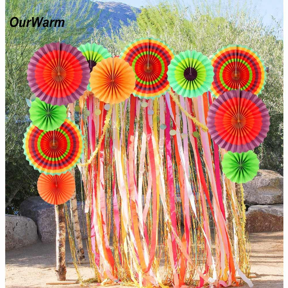 Ourwarm Colorful Paper Fans Birthday Kids Party Hanging Decoration Hang Swirl For Mexican Supplies Home Wall Decor Decorations