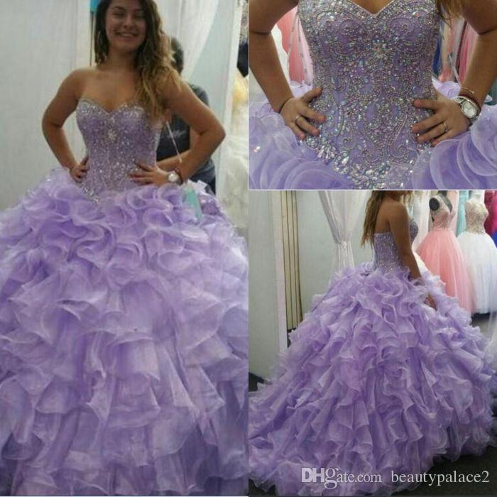 0ab292dee4 Lavender Sweet 16 Quinceanera Dresses 2019 Luxurious Crystals Beaded  Ruffles Organza Ball Gown Prom Dresses Formal Party Gowns Wear Unique  Quinceanera ...