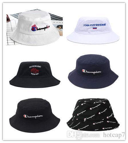 f041858c2 High Quality Fashion Men Women Hot Champion Bucket Hat brand Outdoor Boonie  Cap Unisex Summer Beach Hat Free Shipping