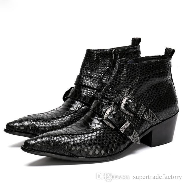 0b5a1bcb62bb6d Punk Dress Boots Snake Genuine Leather Men Ankle Boots Mens Military Cowboy Boots  High Top Buckles Party Men Satefy Shoes Winter Thigh High Boots Booties ...
