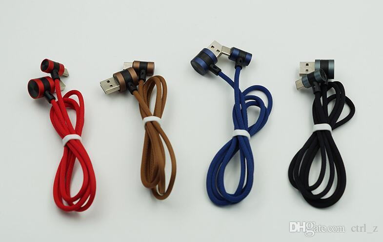 90 Degree Angle 2.1A Fast Charger L Bending slide Design braided cable for micro usb samsung LG huawei