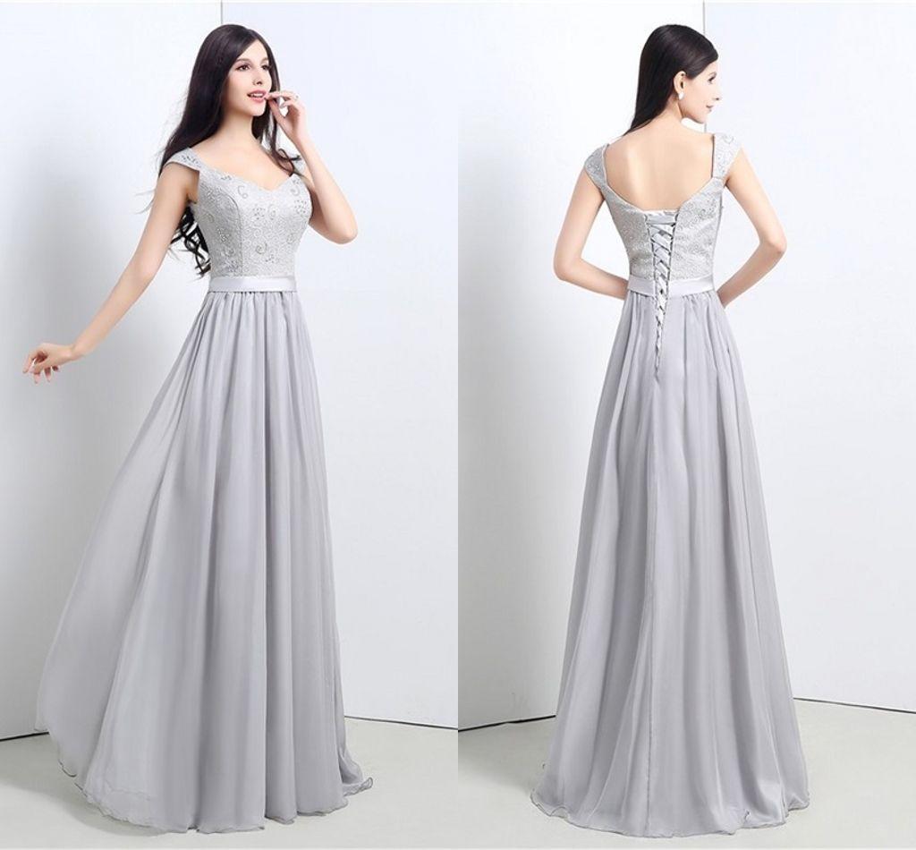 3827af9f4cc48 High Quality Silver Collar Formal Evening Dresses Shoulders V Long Slim  Halter Straps Lace Chiffon Bridesmaid Dresses 2019 New Party Dresses