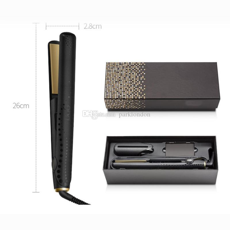 9hd V Gold Professional hair straightener EU/UK plug with retail box DHL fast ship In stock