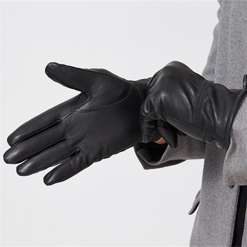 aa5d5bc50efa8 Humusan Men Leather Gloves Winter Thick Warm Black Classic Leather ...
