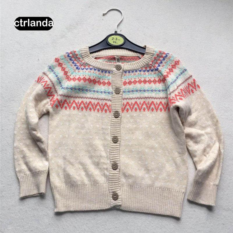 a0dde5724 Baby Girls Cardigan Sweater Toddler Girl Long Sleeves Retro Cotton ...