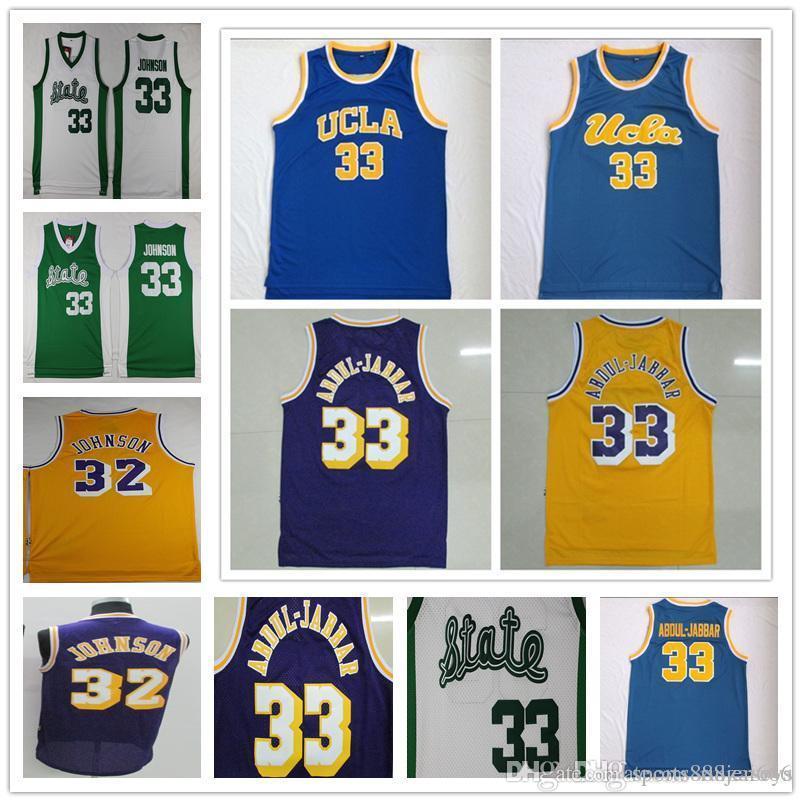 buy online cddb7 8b7ed Cheap Men s NCAA College jersey Vintage UCLA jersey 32 Magic Johnson 33  Abdul Jabbar Retro Retired star Basketball Jerseys