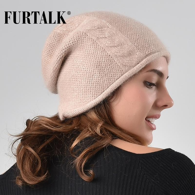 44dd220c7cc FURTALK Cashmere Rabbit Hair Winter Women Hat Knitted Beanie Hats For Girls  Skullies Beanies Female AD005 Cap Hat Cute Beanies From Fragmentt
