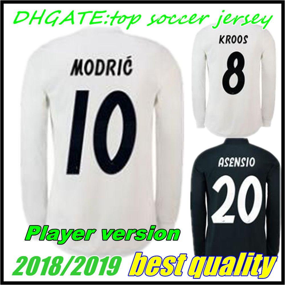 2018 2019 Real Madrid Camiseta De Fútbol Para Jugador 18 19 Manga Larga  BENZEMA ISCO BALE SERGIO RAMOS MORATA ASENSIO Camiseta De Fútbol MODRIC Por  ... d15fd7adb9222