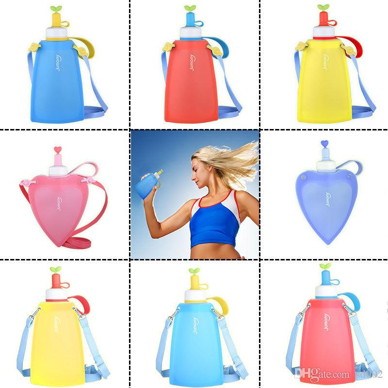 Love Shape Silicone Portable Kettle Lovely Foldable Cup Kids Children  Student Girl Travel Water Bottle Pure Color 35jz Bb Best Water Bottles For  The Gym ... 73e88b9db2