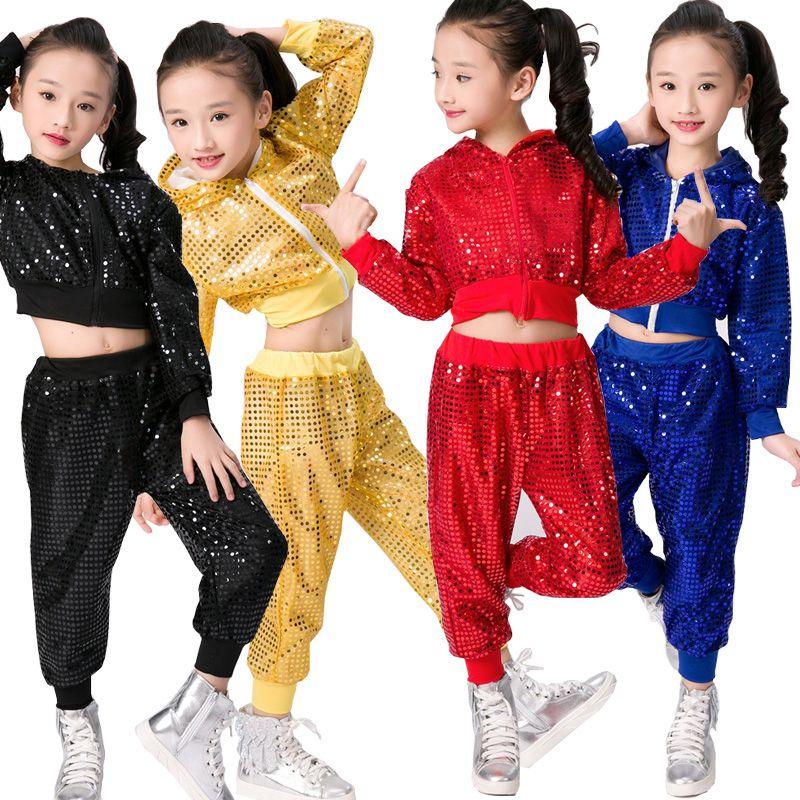 Compre Trajes De Ropa De Baile De Hip Hop Para Niños Chicas Niños Jazz  Moderno Bailando Trajes Fiesta En El Salón Baile Con Lentejuelas Hoodie +  Pants A ... 322fe784556