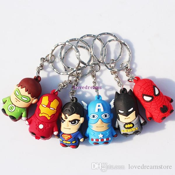 /The phone Keychains Spiderman Superman Iron Man Batman Captain America Green Lantern Mini Pendants Soft Rubber Figure Toys