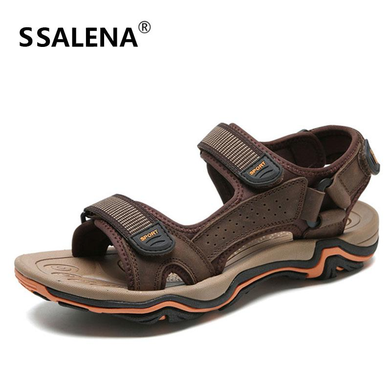 4cc05bea1 Men Leather Leisure Sandals Male Summer Beach Anti Slip Soft Sandals Men  Hollow Breathable Quick Drying Shoes AA51629 Strappy Sandals Skechers  Sandals From ...