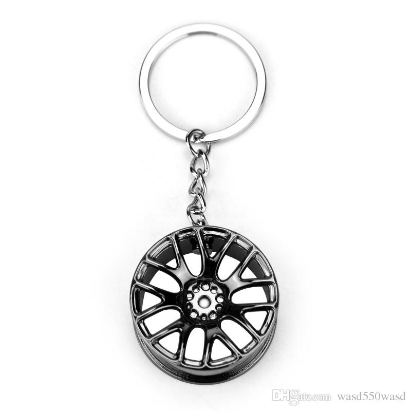New Design Cool Luxury metal Keychain Car Key Chain Key Ring creative wheel hub chain For Man Women Gift
