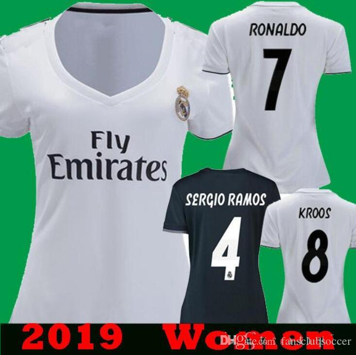 2019 Women Real Madrid Home White Soccer Jersey 18 19 Real Madrid BALE  KROOS Away Female Soccer Shirt 2018 2019  7 RONALDO Girl Football From  Fansclubsoccer ... 33c071c0b